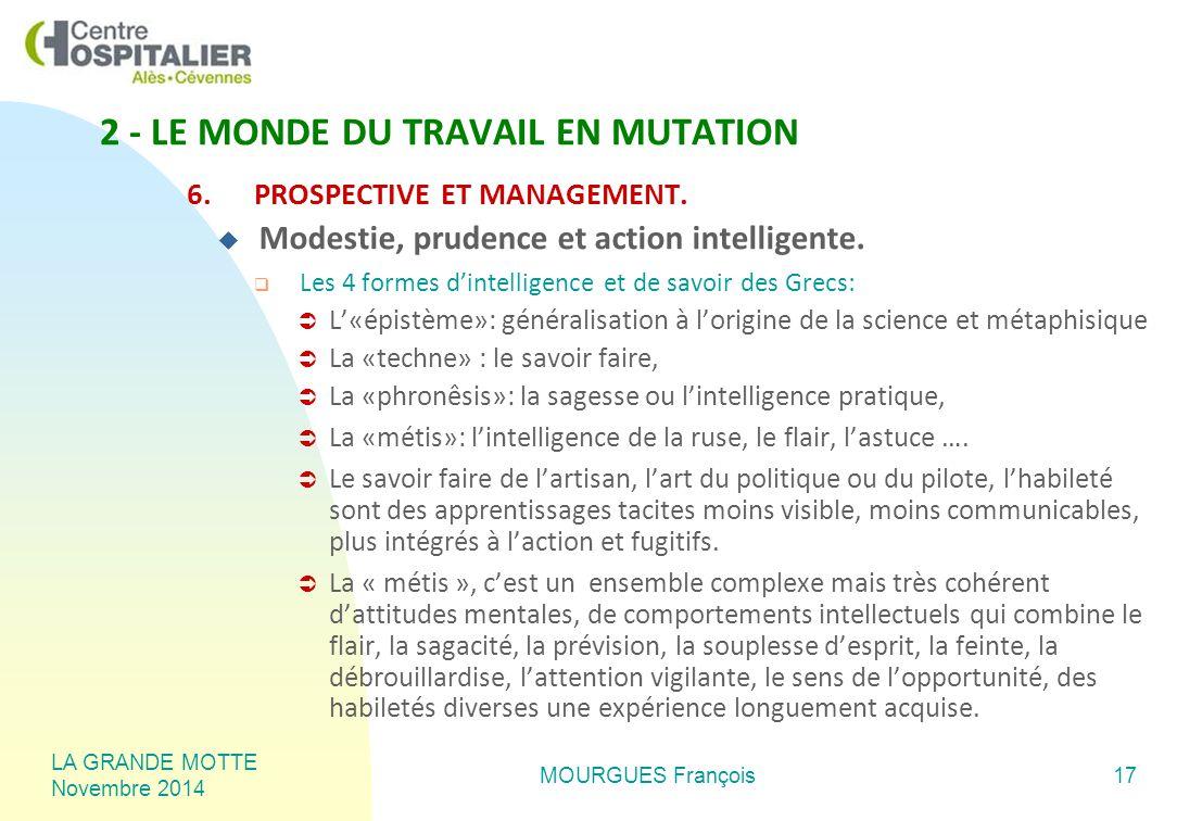 LA GRANDE MOTTE Novembre 2014 MOURGUES François17 6.PROSPECTIVE ET MANAGEMENT.