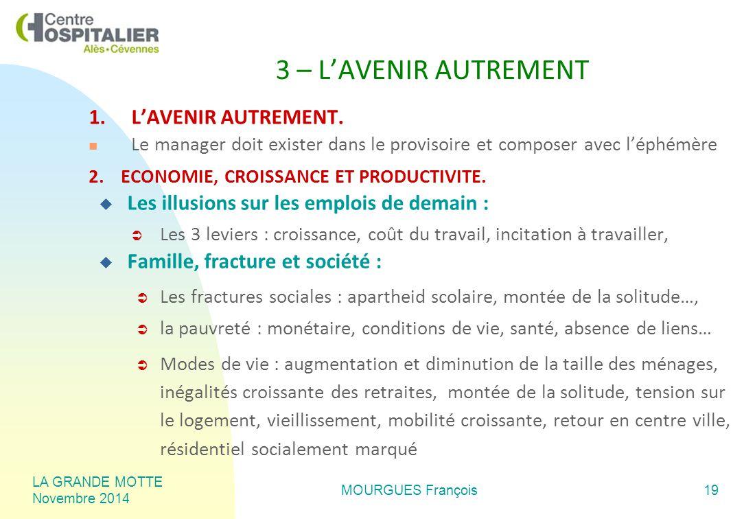 LA GRANDE MOTTE Novembre 2014 MOURGUES François19 3 – L'AVENIR AUTREMENT 1.L'AVENIR AUTREMENT.
