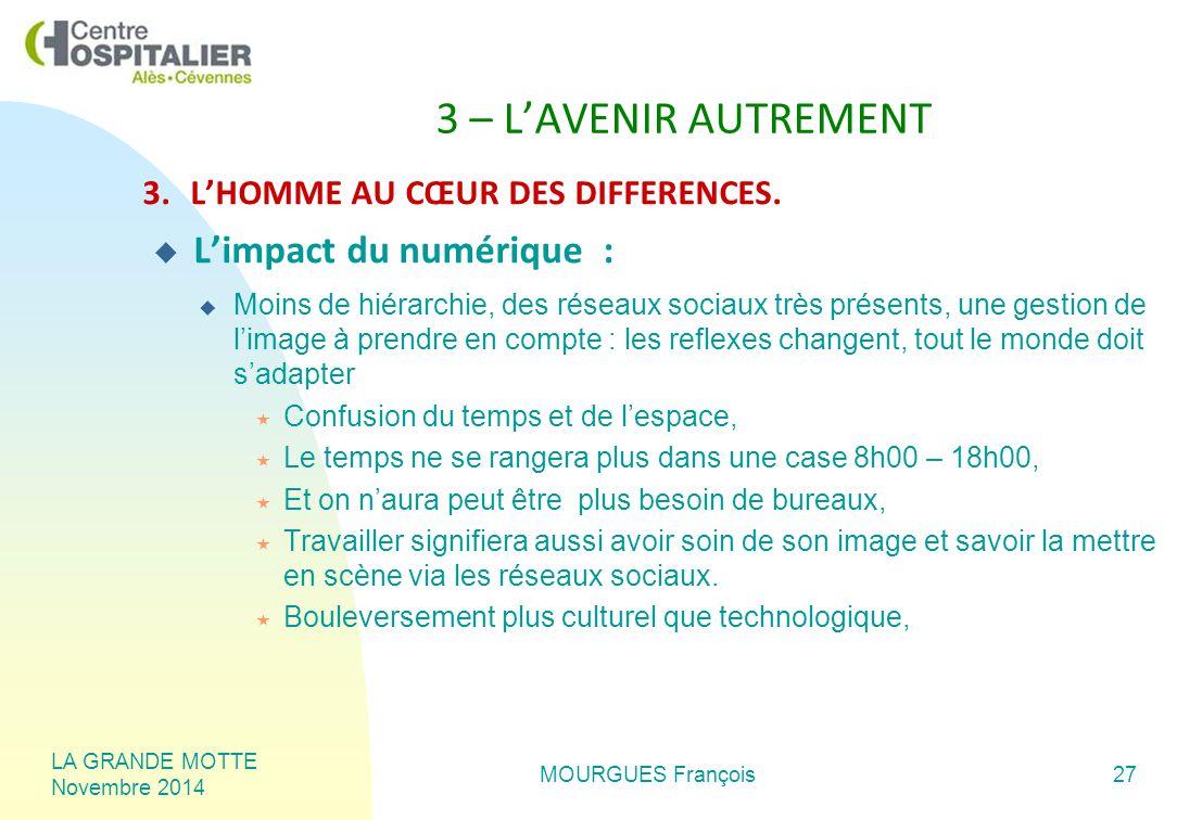 LA GRANDE MOTTE Novembre 2014 MOURGUES François27 3 – L'AVENIR AUTREMENT 3.L'HOMME AU CŒUR DES DIFFERENCES.