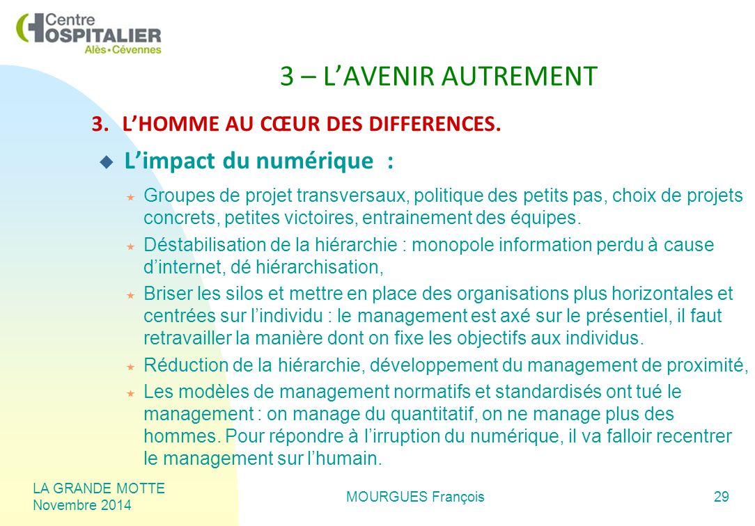 LA GRANDE MOTTE Novembre 2014 MOURGUES François29 3 – L'AVENIR AUTREMENT 3.L'HOMME AU CŒUR DES DIFFERENCES.