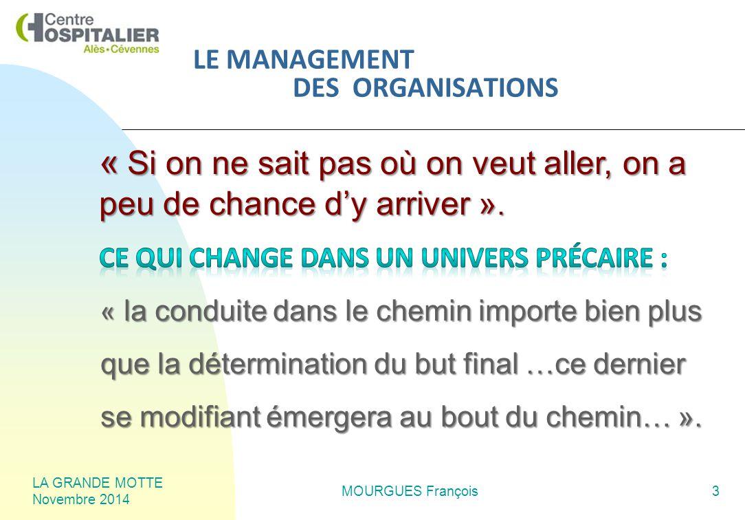LA GRANDE MOTTE Novembre 2014 MOURGUES François3 LE MANAGEMENT DES ORGANISATIONS