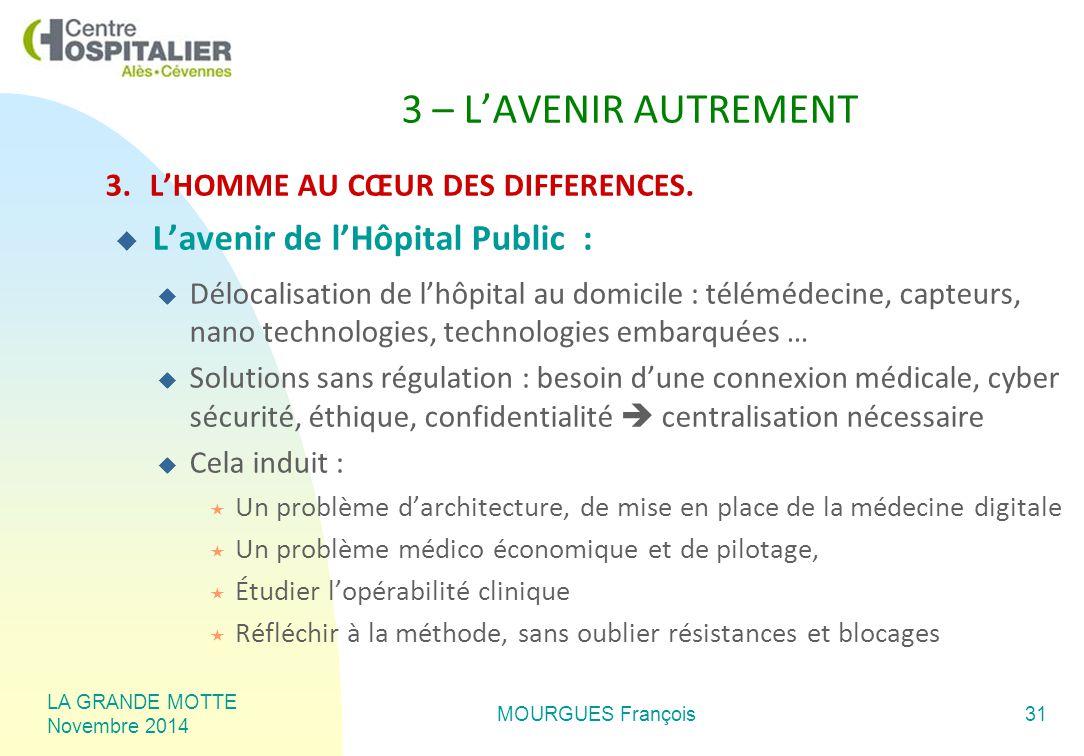 LA GRANDE MOTTE Novembre 2014 MOURGUES François31 3 – L'AVENIR AUTREMENT 3.L'HOMME AU CŒUR DES DIFFERENCES.