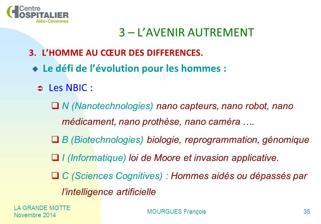 LA GRANDE MOTTE Novembre 2014 MOURGUES François35 3 – L'AVENIR AUTREMENT 3.L'HOMME AU CŒUR DES DIFFERENCES.