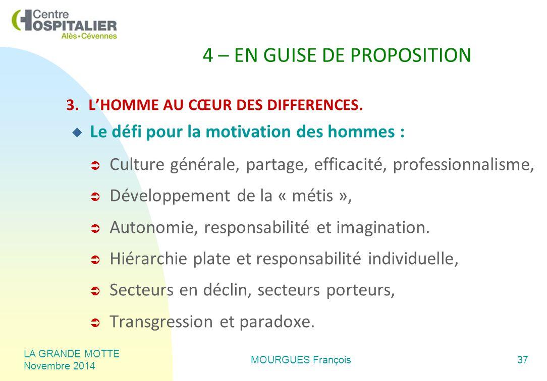 LA GRANDE MOTTE Novembre 2014 MOURGUES François37 4 – EN GUISE DE PROPOSITION 3.L'HOMME AU CŒUR DES DIFFERENCES.