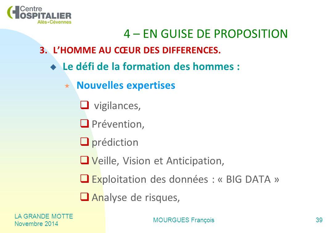 LA GRANDE MOTTE Novembre 2014 MOURGUES François39 4 – EN GUISE DE PROPOSITION 3.L'HOMME AU CŒUR DES DIFFERENCES.