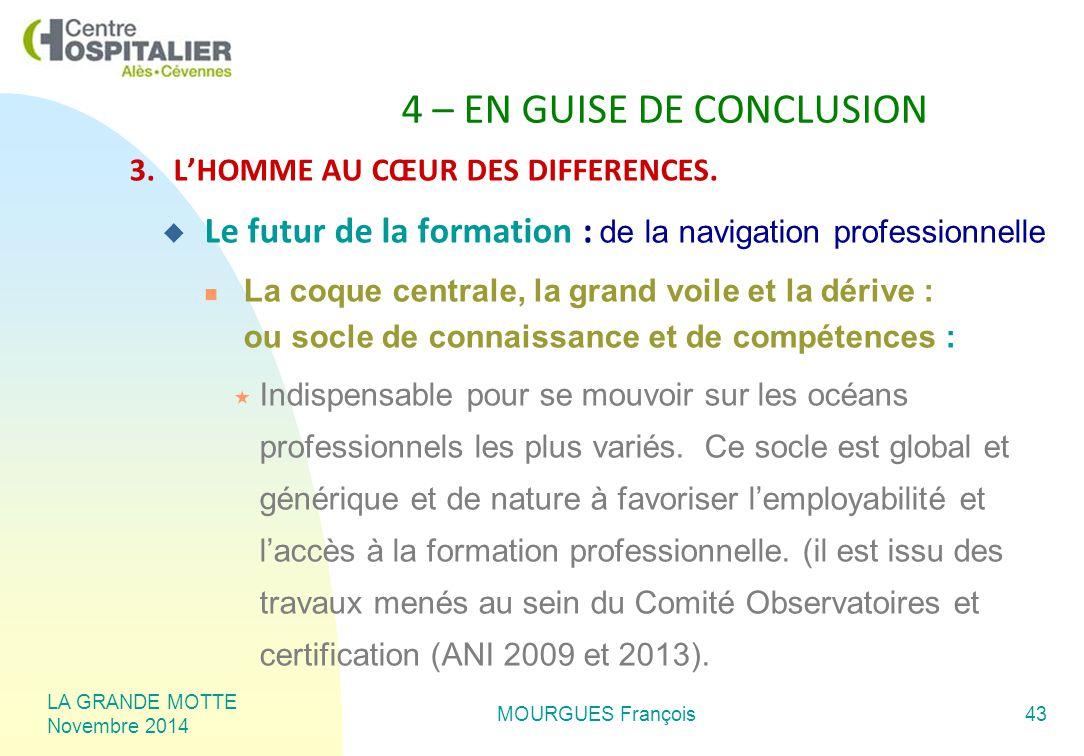 LA GRANDE MOTTE Novembre 2014 MOURGUES François43 4 – EN GUISE DE CONCLUSION 3.L'HOMME AU CŒUR DES DIFFERENCES.