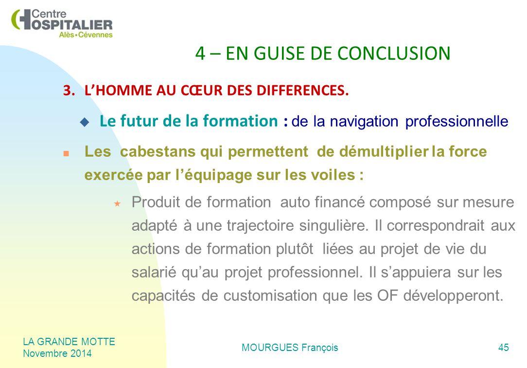 LA GRANDE MOTTE Novembre 2014 MOURGUES François45 4 – EN GUISE DE CONCLUSION 3.L'HOMME AU CŒUR DES DIFFERENCES.