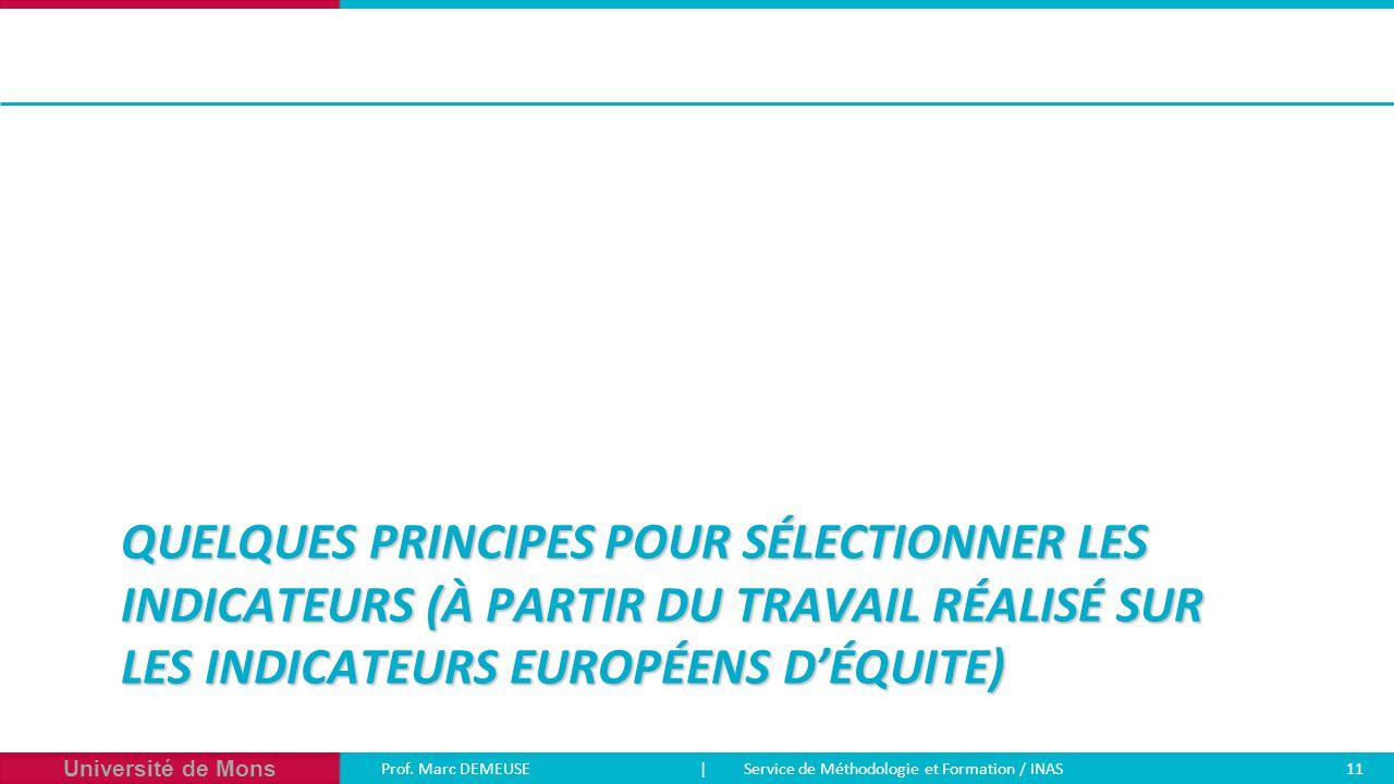 Université de Mons Prof. Marc DEMEUSE| Service de Méthodologie et Formation / INAS 11 QUELQUES PRINCIPES POUR SÉLECTIONNER LES INDICATEURS (À PARTIR D