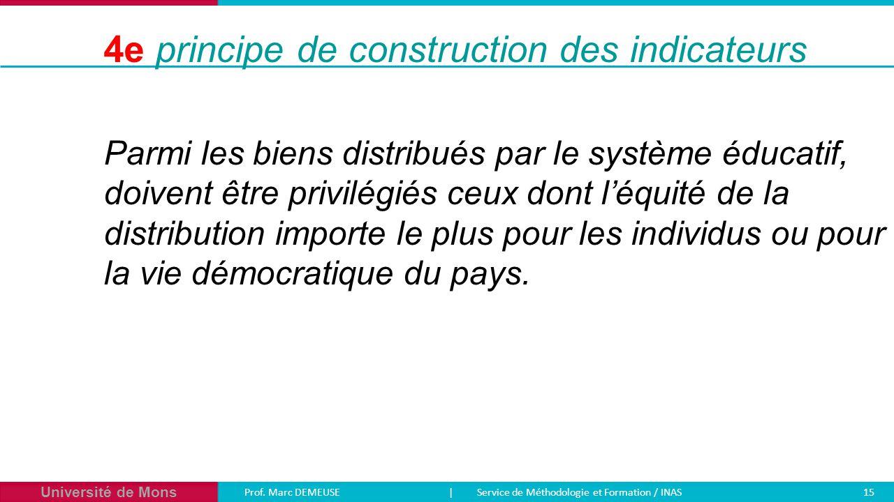 Université de Mons Prof. Marc DEMEUSE| Service de Méthodologie et Formation / INAS 15 Parmi les biens distribués par le système éducatif, doivent être