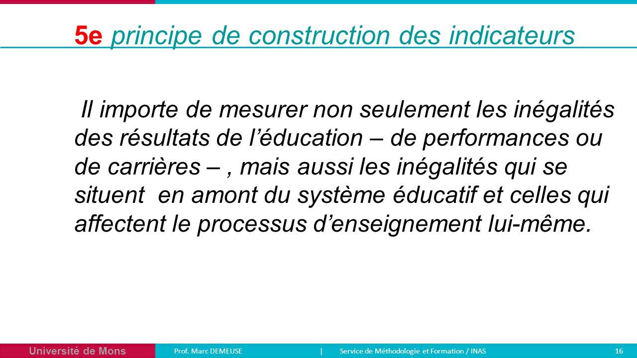 Université de Mons Prof. Marc DEMEUSE| Service de Méthodologie et Formation / INAS 16 Il importe de mesurer non seulement les inégalités des résultats