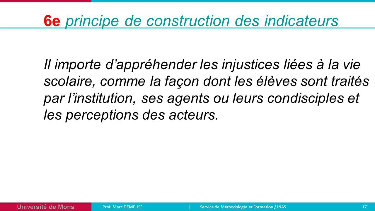 Université de Mons Prof. Marc DEMEUSE| Service de Méthodologie et Formation / INAS 17 Il importe d'appréhender les injustices liées à la vie scolaire,