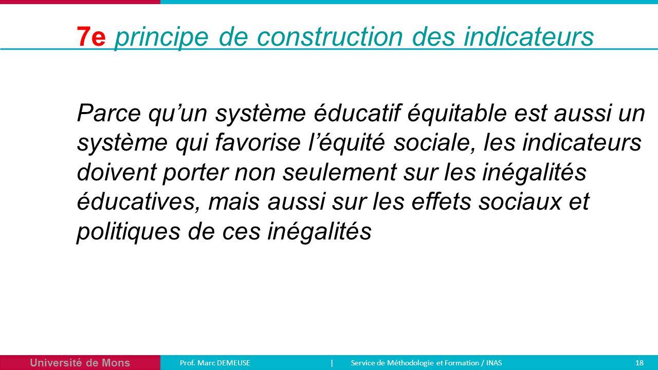 Université de Mons Prof. Marc DEMEUSE| Service de Méthodologie et Formation / INAS 18 Parce qu'un système éducatif équitable est aussi un système qui