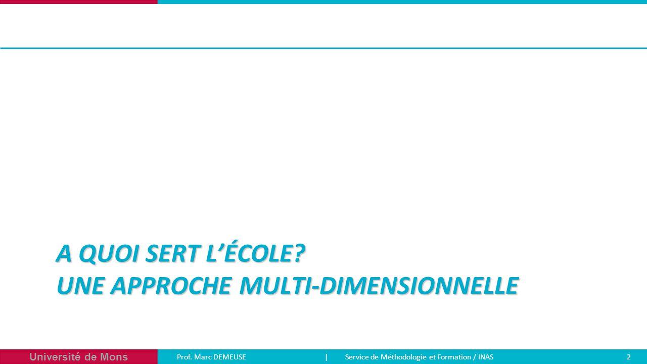 Université de Mons Prof. Marc DEMEUSE| Service de Méthodologie et Formation / INAS 2 A QUOI SERT L'ÉCOLE? UNE APPROCHE MULTI-DIMENSIONNELLE