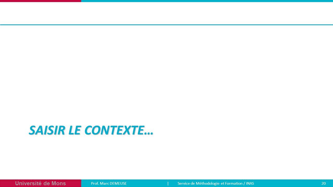 Université de Mons Prof. Marc DEMEUSE| Service de Méthodologie et Formation / INAS 20 SAISIR LE CONTEXTE…