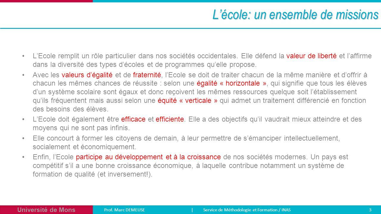 Université de Mons Prof. Marc DEMEUSE| Service de Méthodologie et Formation / INAS 3 L'école: un ensemble de missions L'Ecole remplit un rôle particul