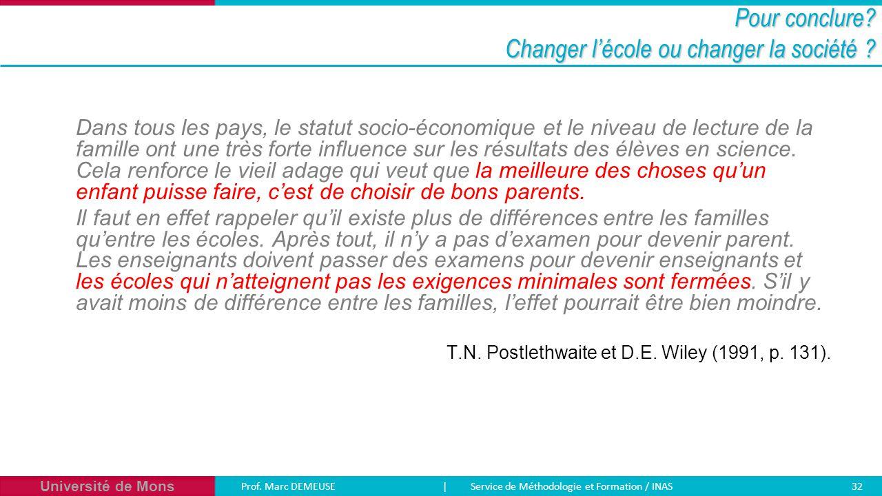 Université de Mons Prof. Marc DEMEUSE| Service de Méthodologie et Formation / INAS 32 Pour conclure? Changer l'école ou changer la société ? Dans tous