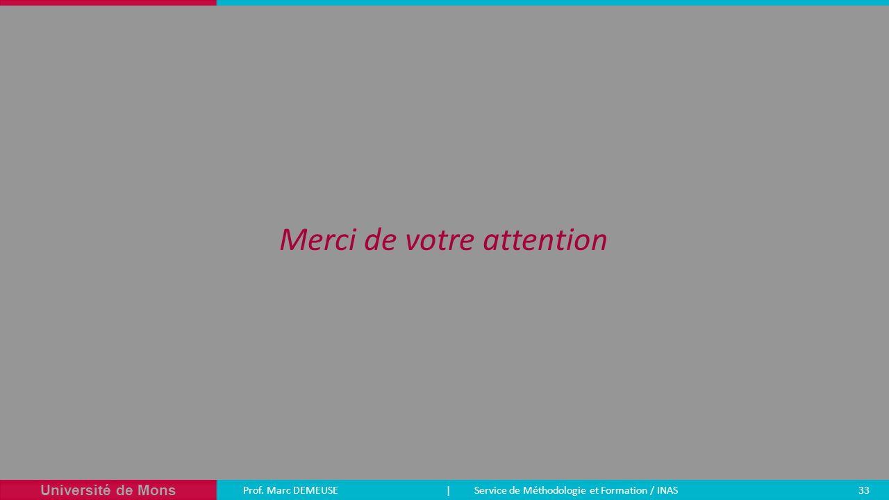Université de Mons Prof. Marc DEMEUSE| Service de Méthodologie et Formation / INAS 33 Merci de votre attention