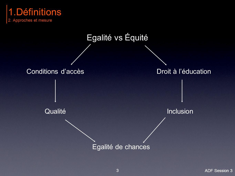 Rawls (1987): 'des inégalités issues de la compétition méritocratique sont justes tant qu'elles n'aggravent pas la situation des plus défavorisés, mais par contre l'améliorent' 4 1.Définitions 2.Approches et mesure ADF Session 3