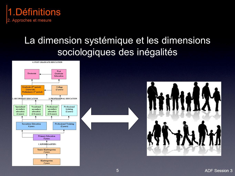 5 La dimension systémique et les dimensions sociologiques des inégalités 1.Définitions 2.Approches et mesure ADF Session 3