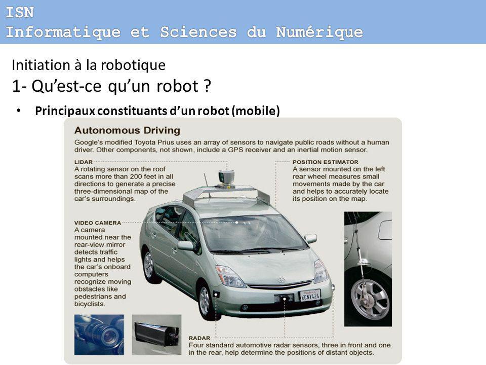 Initiation à la robotique 1- Qu'est-ce qu'un robot ? Principaux constituants d'un robot (mobile)