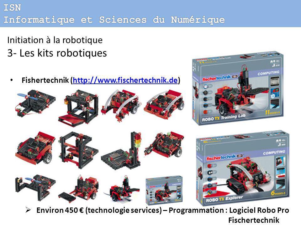 Fishertechnik (http://www.fischertechnik.de)http://www.fischertechnik.de  Environ 450 € (technologie services) – Programmation : Logiciel Robo Pro Fischertechnik Initiation à la robotique 3- Les kits robotiques