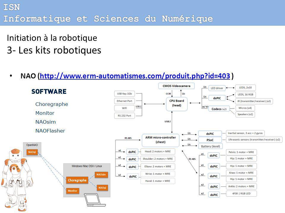 Initiation à la robotique 3- Les kits robotiques NAO (http://www.erm-automatismes.com/produit.php?id=403 )http://www.erm-automatismes.com/produit.php?id=403