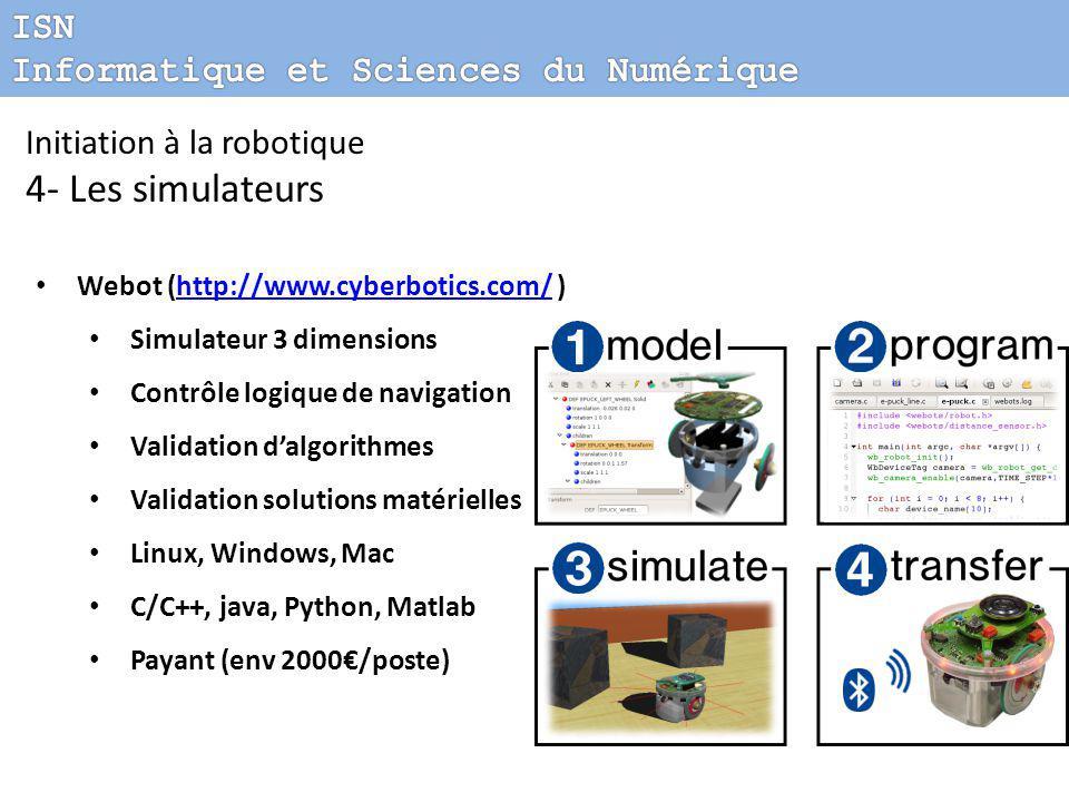 Initiation à la robotique 4- Les simulateurs Webot (http://www.cyberbotics.com/ )http://www.cyberbotics.com/ Simulateur 3 dimensions Contrôle logique de navigation Validation d'algorithmes Validation solutions matérielles Linux, Windows, Mac C/C++, java, Python, Matlab Payant (env 2000€/poste)