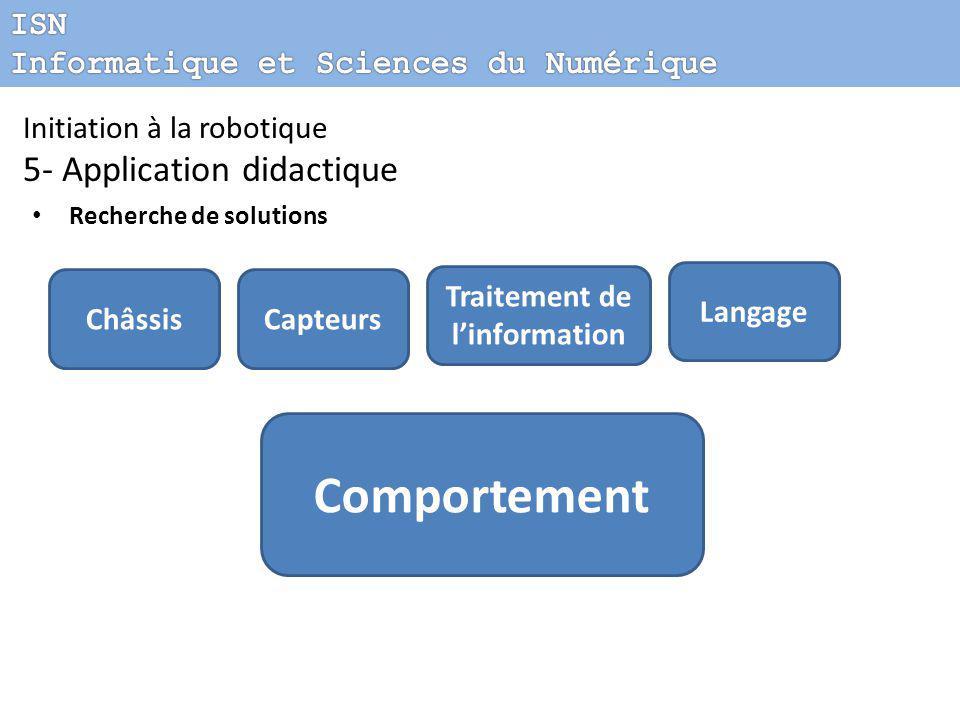 Initiation à la robotique 5- Application didactique Recherche de solutions Châssis Comportement Capteurs Traitement de l'information Langage
