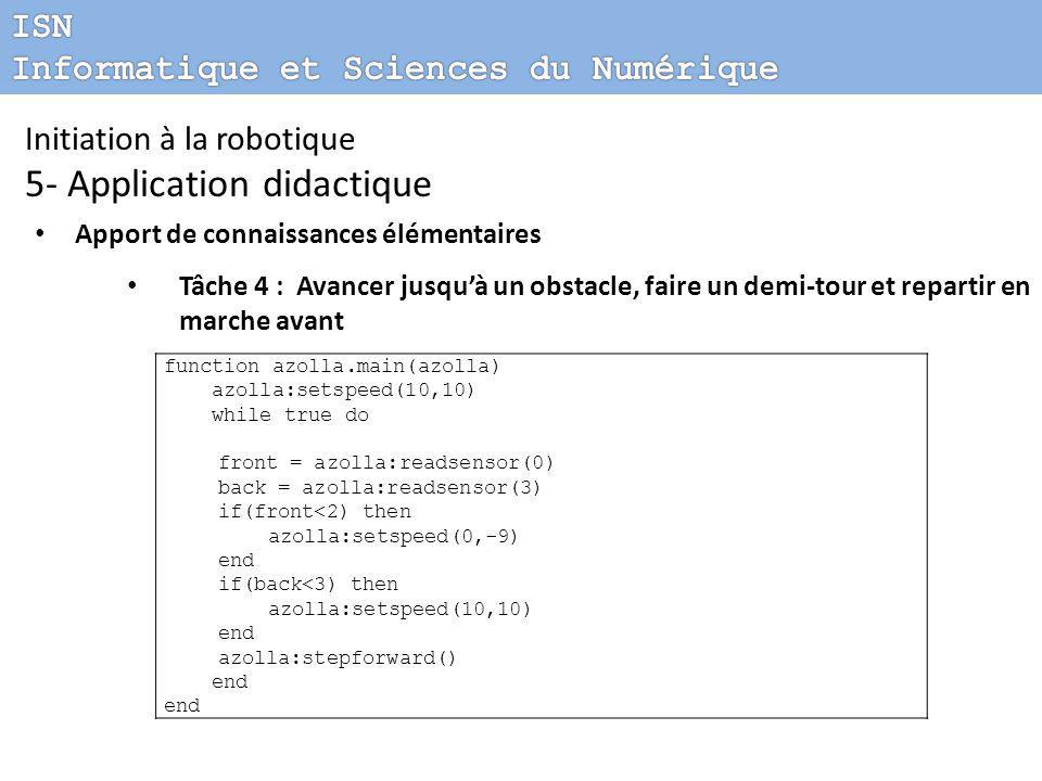 Initiation à la robotique 5- Application didactique Apport de connaissances élémentaires Tâche 4 : Avancer jusqu'à un obstacle, faire un demi-tour et repartir en marche avant function azolla.main(azolla) azolla:setspeed(10,10) while true do front = azolla:readsensor(0) back = azolla:readsensor(3) if(front<2) then azolla:setspeed(0,-9) end if(back<3) then azolla:setspeed(10,10) end azolla:stepforward() end