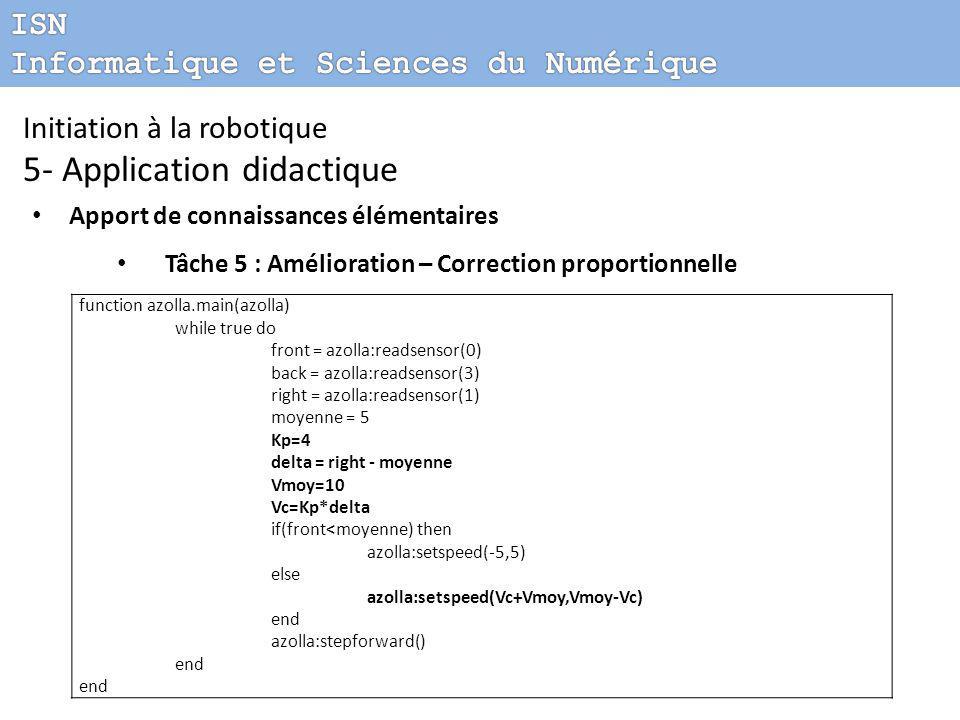 Initiation à la robotique 5- Application didactique Apport de connaissances élémentaires Tâche 5 : Amélioration – Correction proportionnelle function azolla.main(azolla) while true do front = azolla:readsensor(0) back = azolla:readsensor(3) right = azolla:readsensor(1) moyenne = 5 Kp=4 delta = right - moyenne Vmoy=10 Vc=Kp*delta if(front<moyenne) then azolla:setspeed(-5,5) else azolla:setspeed(Vc+Vmoy,Vmoy-Vc) end azolla:stepforward() end