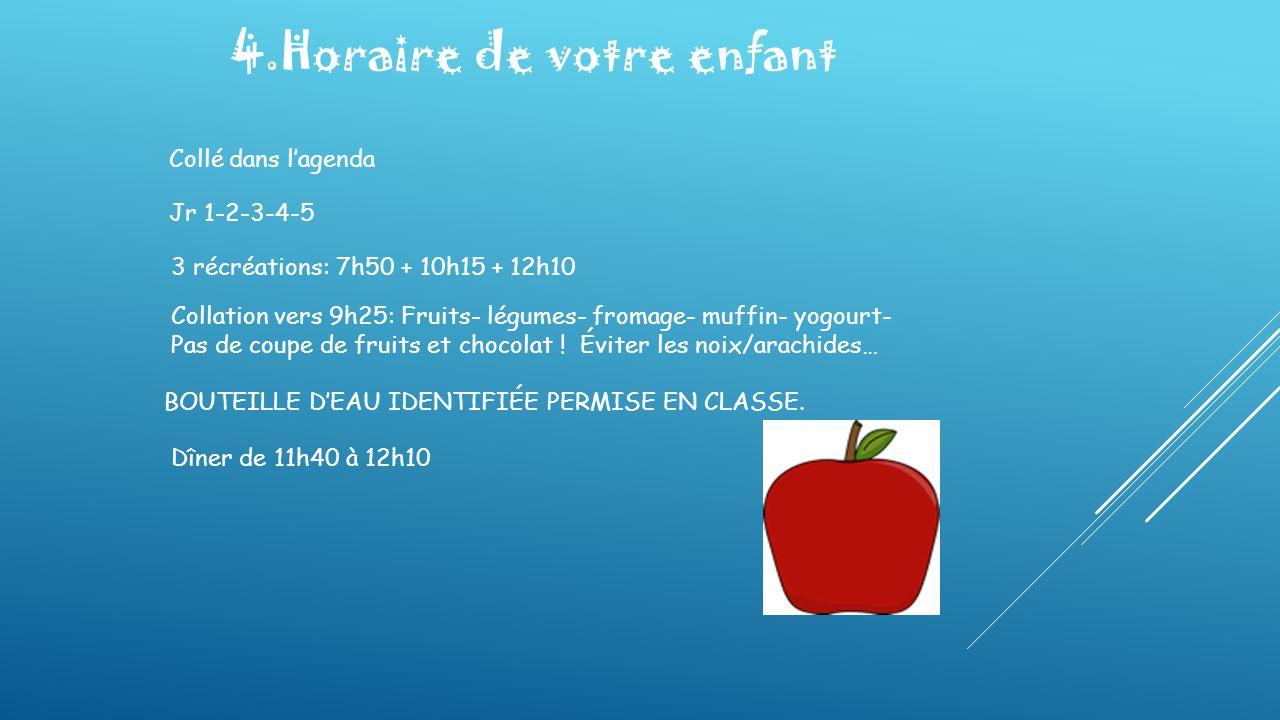 4.Horaire de votre enfant Collé dans l'agenda Jr 1-2-3-4-5 3 récréations: 7h50 + 10h15 + 12h10 Collation vers 9h25: Fruits- légumes- fromage- muffin-