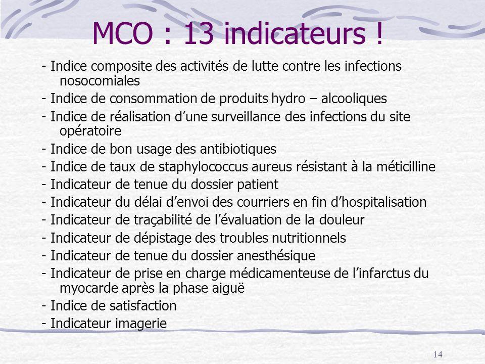 14 MCO : 13 indicateurs .