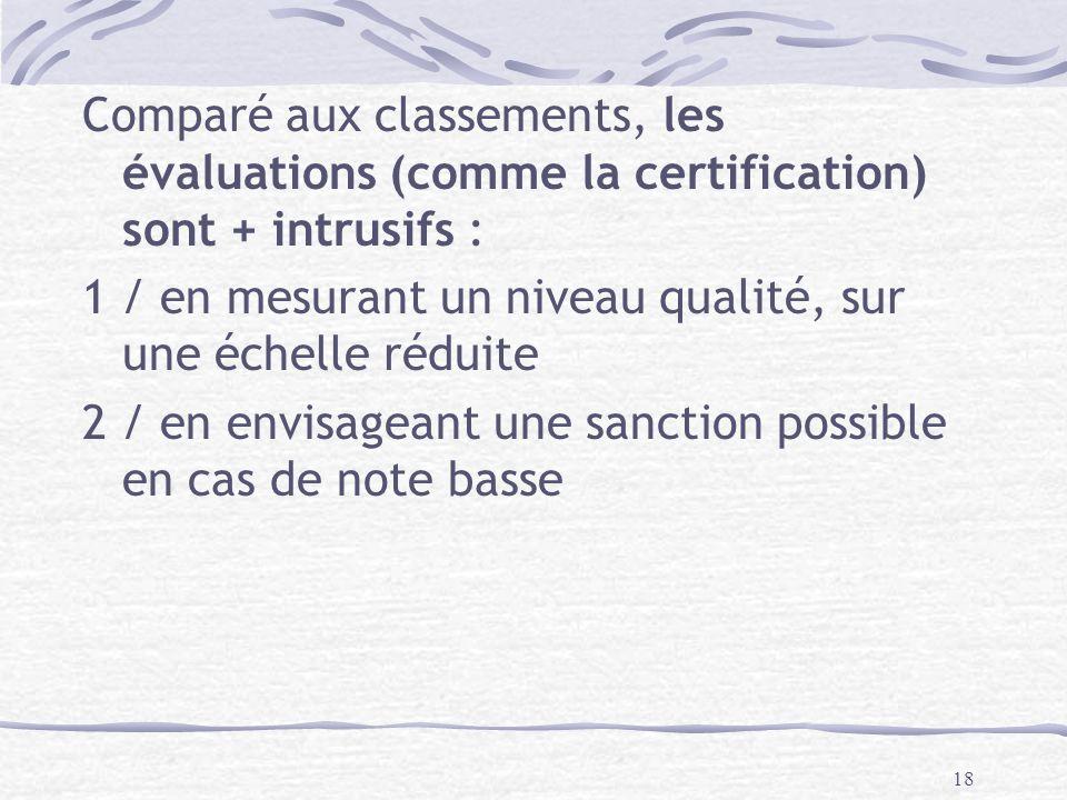 18 Comparé aux classements, les évaluations (comme la certification) sont + intrusifs : 1 / en mesurant un niveau qualité, sur une échelle réduite 2 / en envisageant une sanction possible en cas de note basse