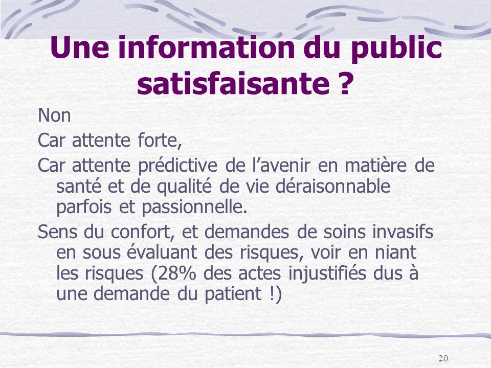 20 Une information du public satisfaisante .