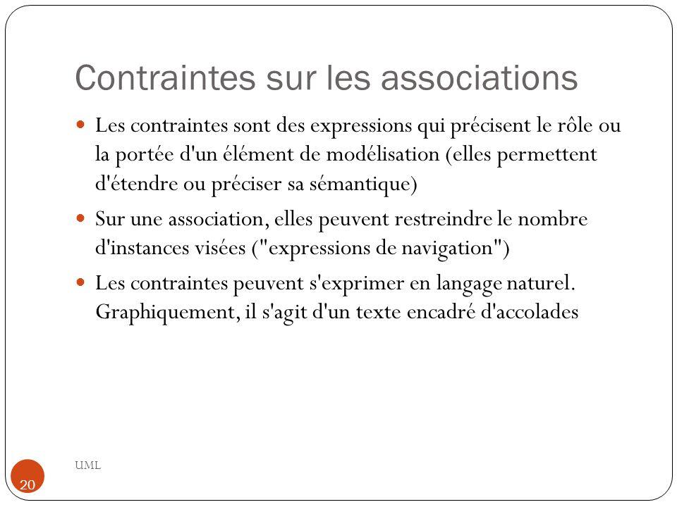 Contraintes sur les associations UML 20 Les contraintes sont des expressions qui précisent le rôle ou la portée d'un élément de modélisation (elles pe