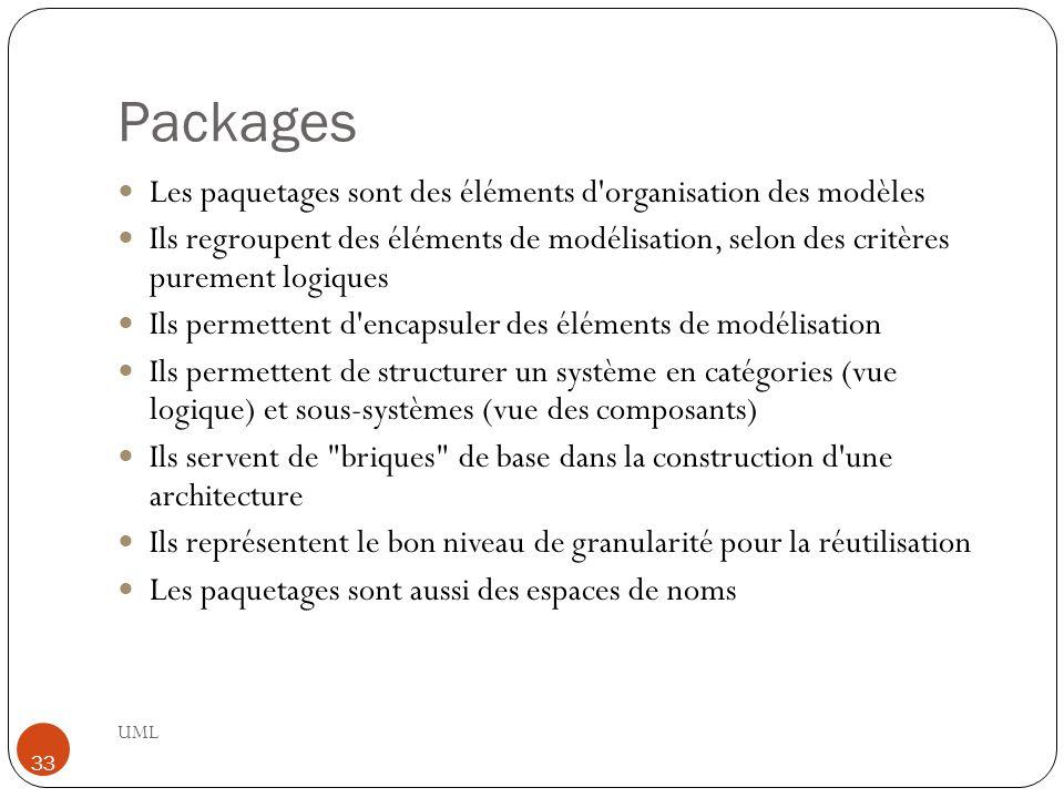 Packages UML 33 Les paquetages sont des éléments d'organisation des modèles Ils regroupent des éléments de modélisation, selon des critères purement l