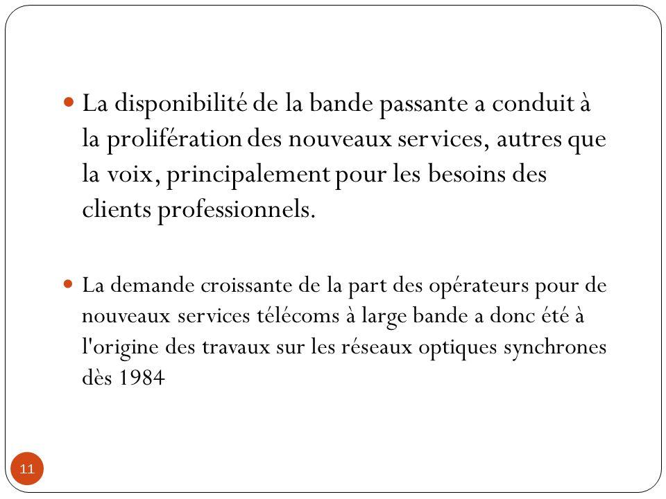 11 La disponibilité de la bande passante a conduit à la prolifération des nouveaux services, autres que la voix, principalement pour les besoins des c