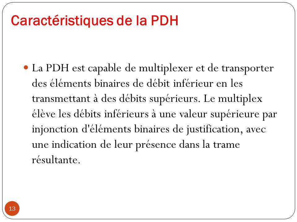 Caractéristiques de la PDH 13 La PDH est capable de multiplexer et de transporter des éléments binaires de débit inférieur en les transmettant à des d