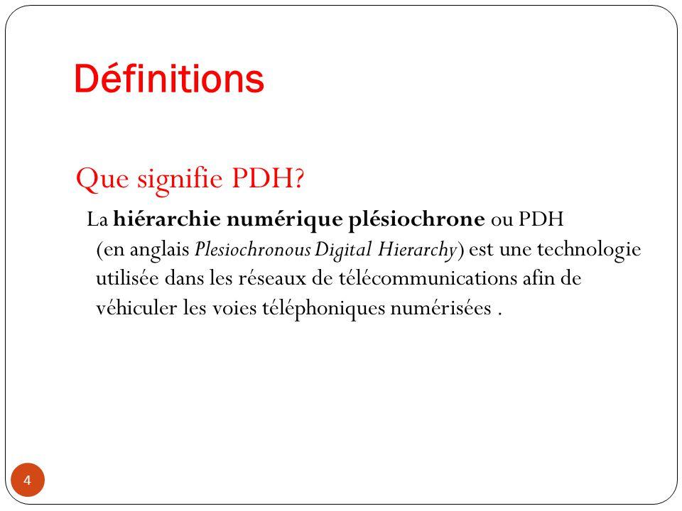 25 la SDH constitue la troisième génération de la hiérarchie de multiplexage des infrastructures des opérateurs où elle succède à la PDH ( E1 (2 Mbit/s), E2 (8 Mbit/s), E3 (34 Mbit/s), etc.
