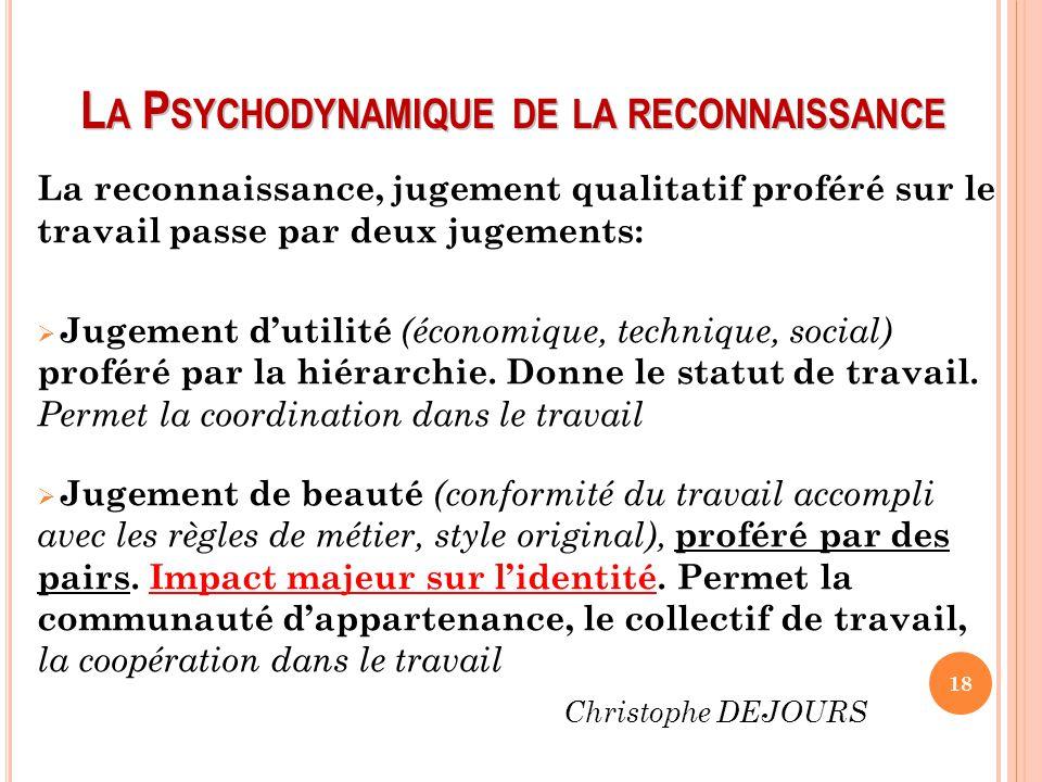 L A P SYCHODYNAMIQUE DE LA RECONNAISSANCE La reconnaissance, jugement qualitatif proféré sur le travail passe par deux jugements:  Jugement d'utilité