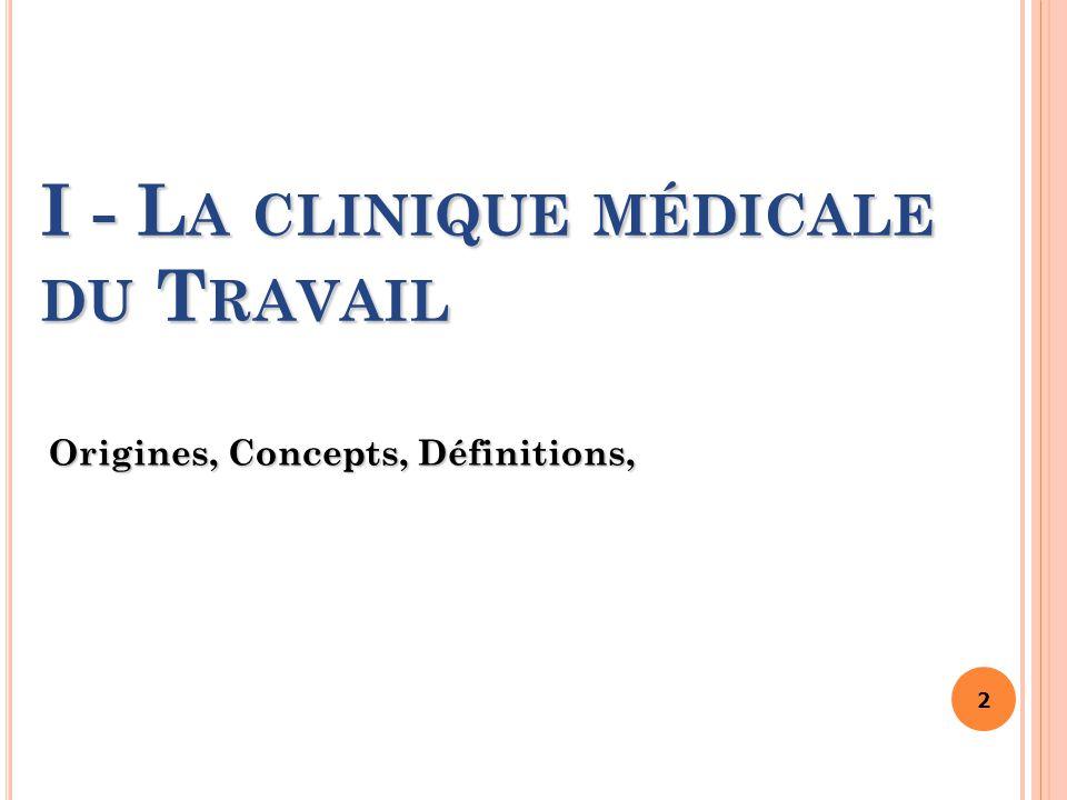 2 I - L A CLINIQUE MÉDICALE DU T RAVAIL Origines, Concepts, Définitions,