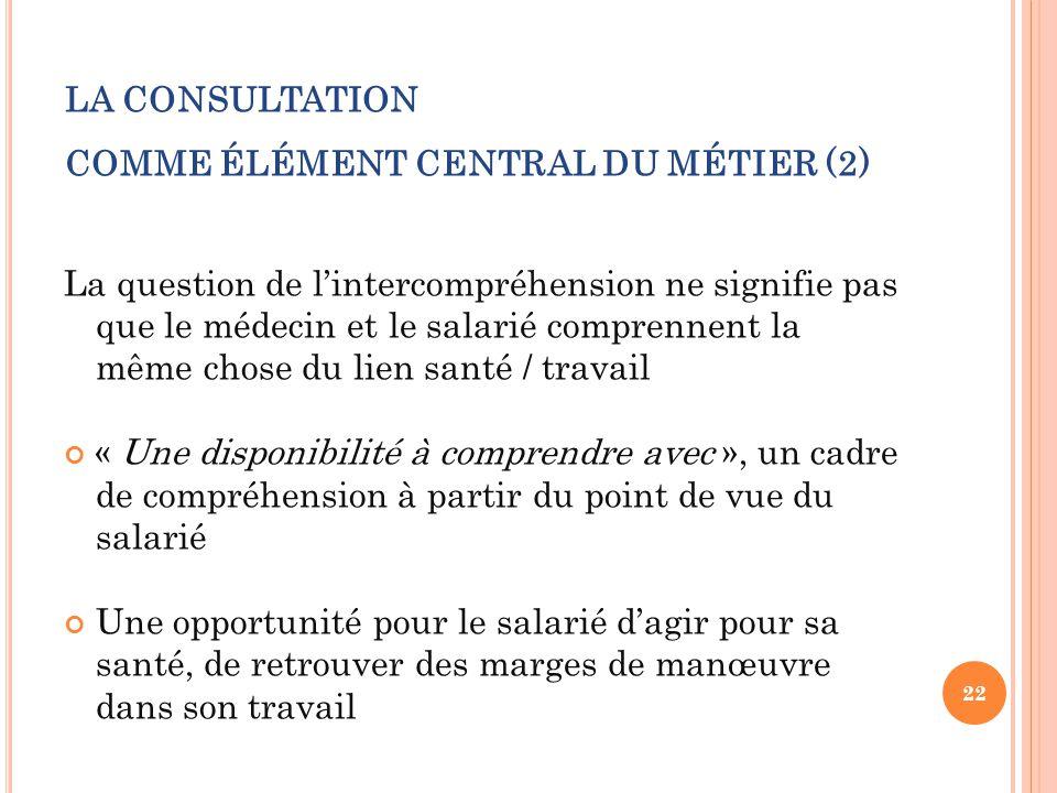 LA CONSULTATION COMME ÉLÉMENT CENTRAL DU MÉTIER (2) La question de l'intercompréhension ne signifie pas que le médecin et le salarié comprennent la mê
