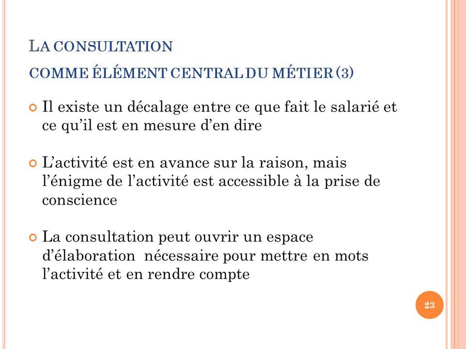 L A CONSULTATION COMME ÉLÉMENT CENTRAL DU MÉTIER (3) Il existe un décalage entre ce que fait le salarié et ce qu'il est en mesure d'en dire L'activité