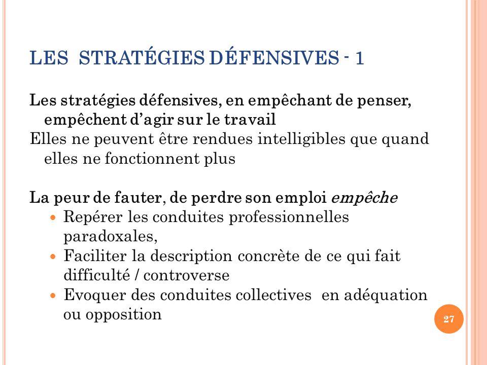 LES STRATÉGIES DÉFENSIVES - 1 Les stratégies défensives, en empêchant de penser, empêchent d'agir sur le travail Elles ne peuvent être rendues intelli