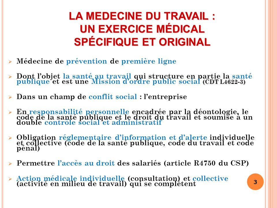 3 LA MEDECINE DU TRAVAIL : UN EXERCICE MÉDICAL SPÉCIFIQUE ET ORIGINAL  Médecine de prévention de première ligne (CDT L4622-3)  Dont l'objet la santé