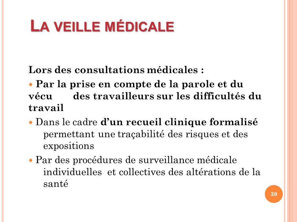 L A VEILLE MÉDICALE Lors des consultations médicales : Par la prise en compte de la parole et du vécu des travailleurs sur les difficultés du travail