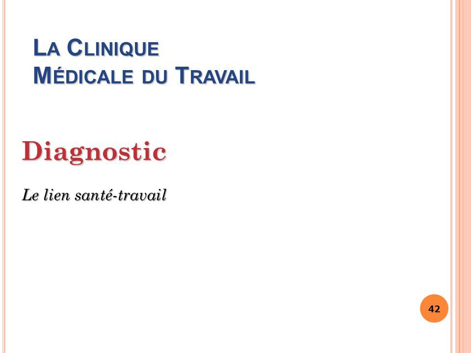 42 L A C LINIQUE M ÉDICALE DU T RAVAIL Diagnostic Le lien santé-travail