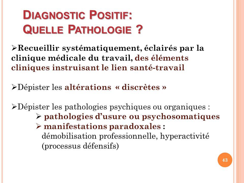 D IAGNOSTIC P OSITIF : Q UELLE P ATHOLOGIE ?  Recueillir systématiquement, éclairés par la clinique médicale du travail, des éléments cliniques instr