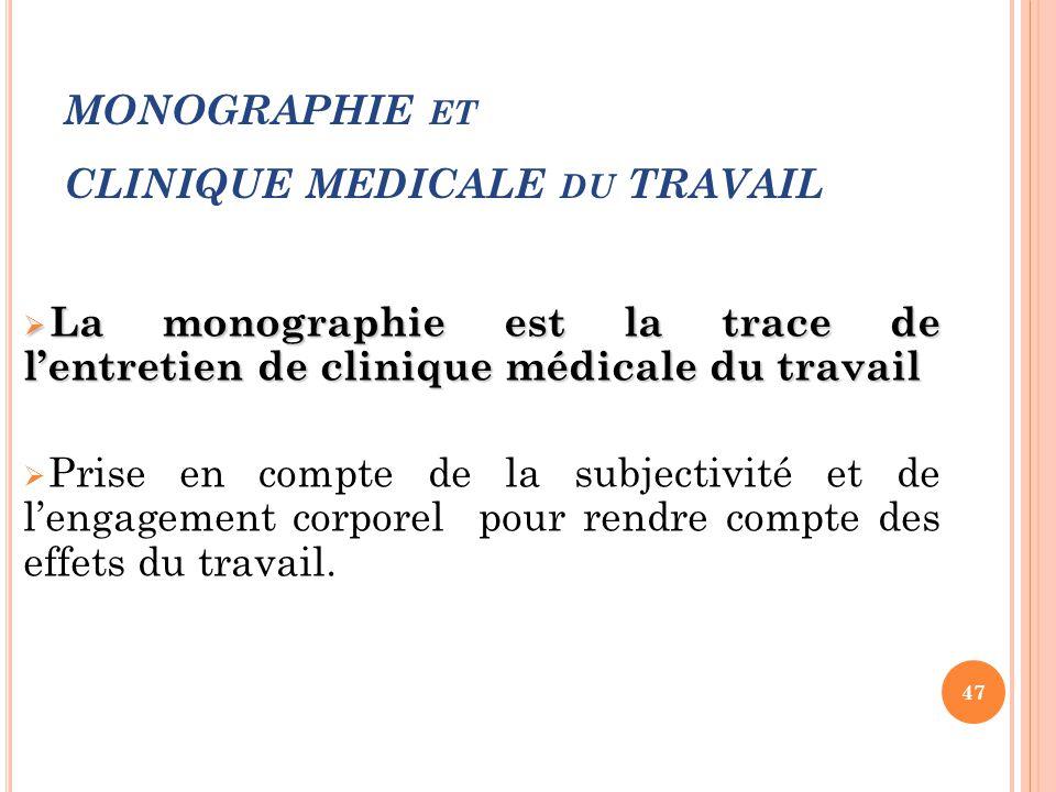 MONOGRAPHIE ET CLINIQUE MEDICALE DU TRAVAIL  La monographie est la trace de l'entretien de clinique médicale du travail  Prise en compte de la subje