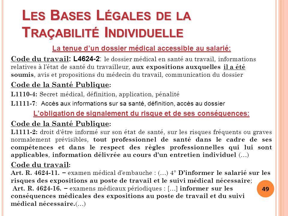 49 L ES B ASES L ÉGALES DE LA T RAÇABILITÉ I NDIVIDUELLE La tenue d'un dossier médical accessible au salarié: Code du travail : L4624-2: le dossier mé